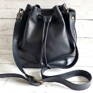 Bloomingdale's Black Leather Crossbody Bucket Bag